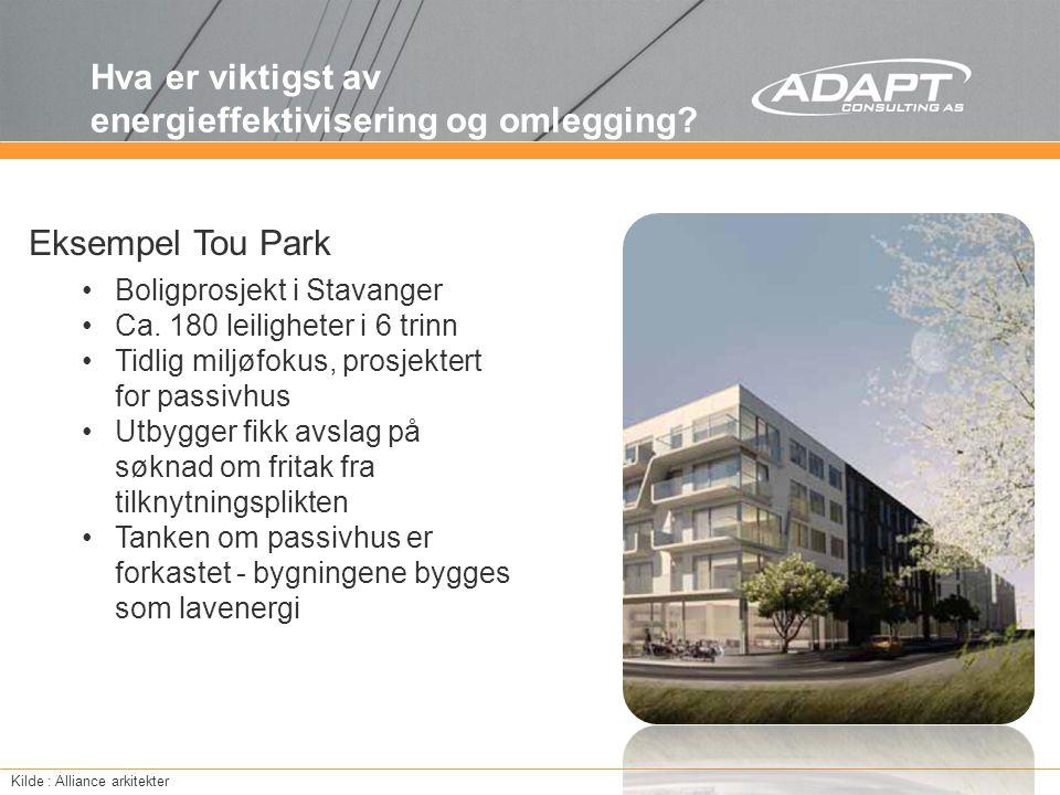Hva er viktigst av energieffektivisering og omlegging? Kilde : Alliance arkitekter Boligprosjekt i Stavanger Ca. 180 leiligheter i 6 trinn Tidlig milj