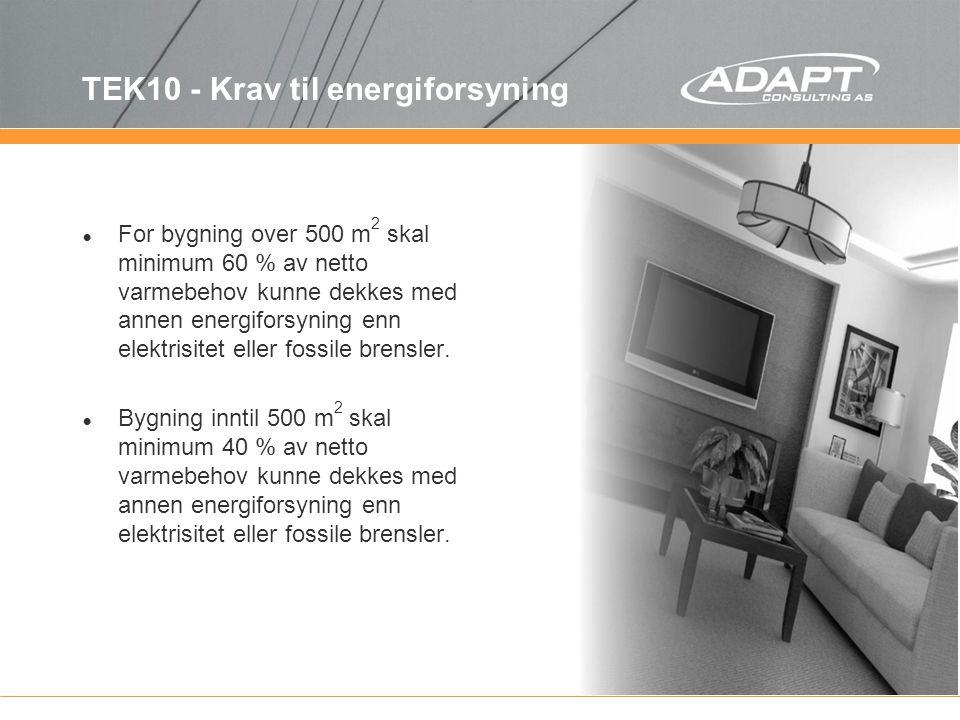TEK10 - Krav til energiforsyning For bygning over 500 m 2 skal minimum 60 % av netto varmebehov kunne dekkes med annen energiforsyning enn elektrisite