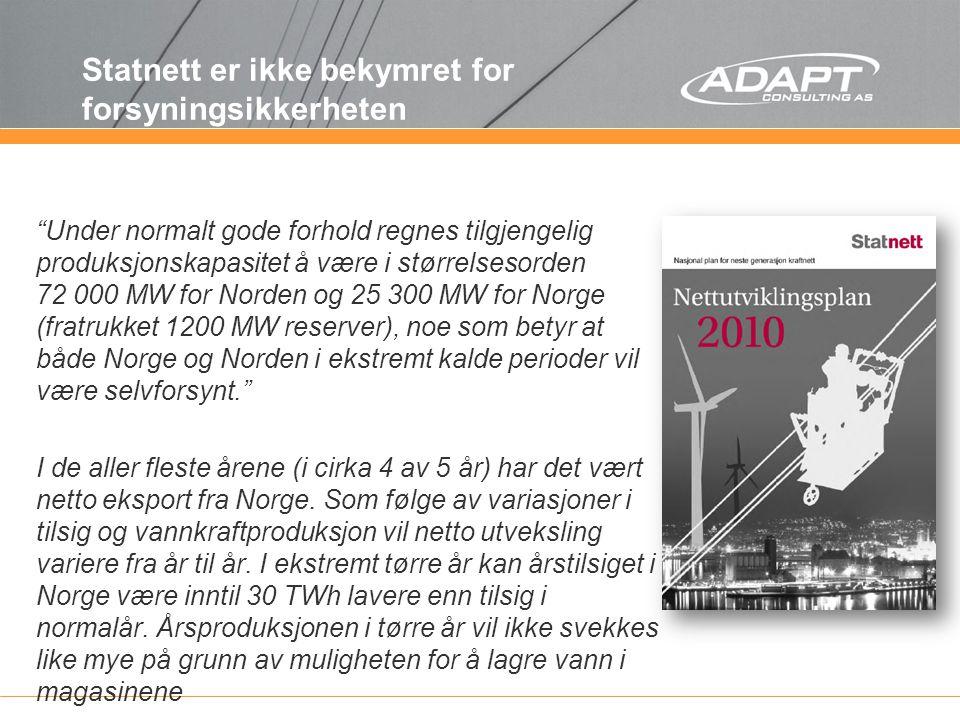 Redusert elvarme løser ikke de regionale utfordringene Redusert forbruk er det beste alternativet med hensyn til naturinngrep, men scorer dårligere med hensyn til forsyningssikkerhet og mulige større forbruksøkninger i Midt-Norge, både med hensyn til nivå på mulige forbruksreduksjoner og fordi reduksjonene først kan realiseres over lengre tid. Multiklientstudie av Thema Consulting Group, april 2011