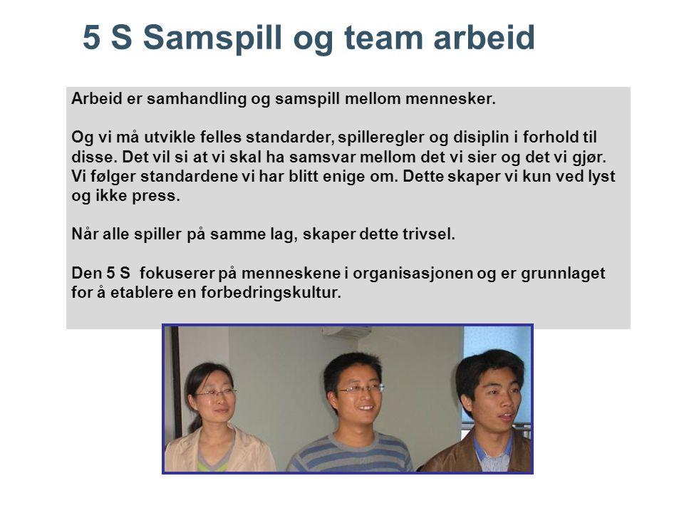 5 S Samspill og team arbeid Arbeid er samhandling og samspill mellom mennesker. Og vi må utvikle felles standarder, spilleregler og disiplin i forhold