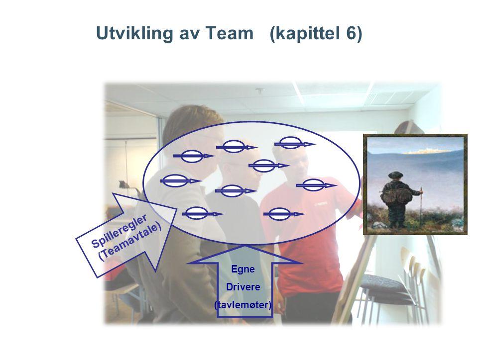 Utvikling av Team (kapittel 6) Egne Drivere (tavlemøter) Spilleregler (Teamavtale)