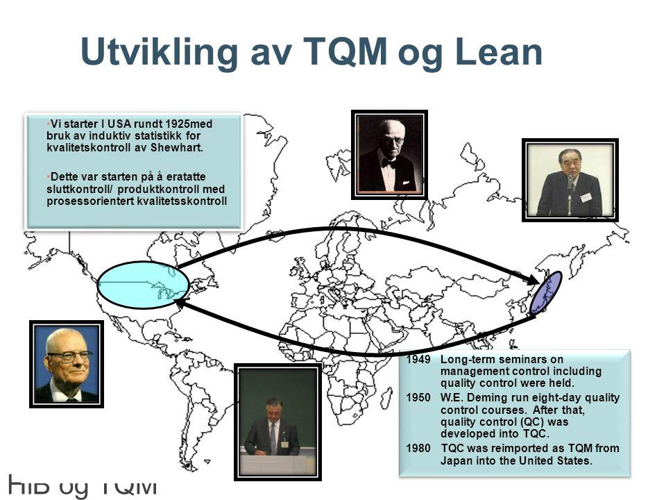 Utvikling av TQM og Lean HiB og TQM Center Norway Vi starter I USA rundt 1925med bruk av induktiv statistikk for kvalitetskontroll av Shewhart.