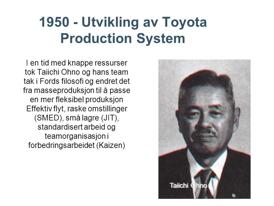 1950 - Utvikling av Toyota Production System I en tid med knappe ressurser tok Taiichi Ohno og hans team tak i Fords filosofi og endret det fra masseproduksjon til å passe en mer fleksibel produksjon Effektiv flyt, raske omstillinger (SMED), små lagre (JIT), standardisert arbeid og teamorganisasjon i forbedringsarbeidet (Kaizen) Taiichi Ohno