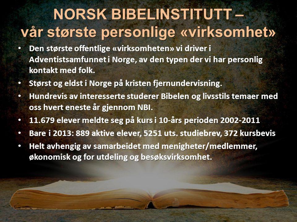 NORSK BIBELINSTITUTT – vår største personlige «virksomhet» Den største offentlige «virksomheten» vi driver i Adventistsamfunnet i Norge, av den typen