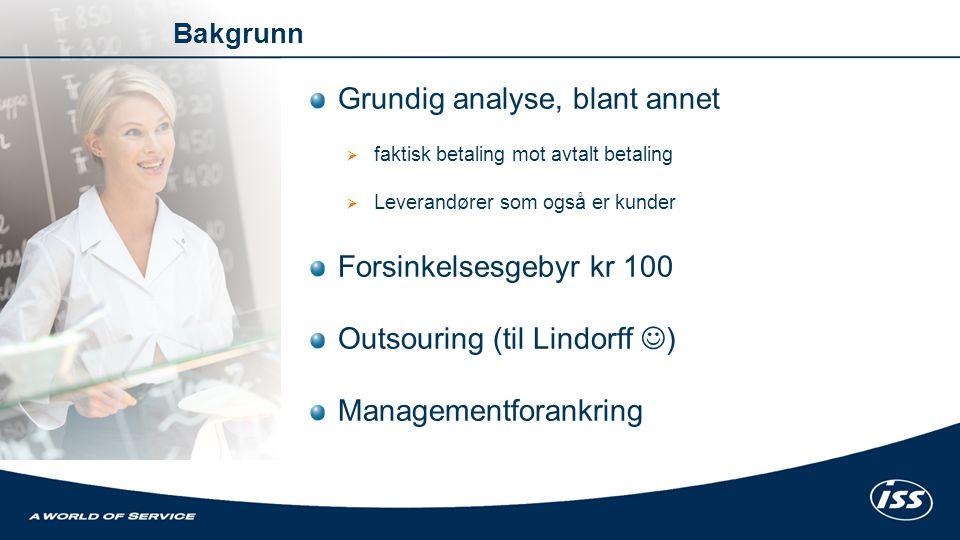 Grundig analyse, blant annet  faktisk betaling mot avtalt betaling  Leverandører som også er kunder Forsinkelsesgebyr kr 100 Outsouring (til Lindorf