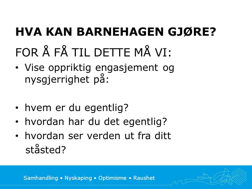 Samhandling Nyskaping Optimisme Raushet HVA KAN BARNEHAGEN GJØRE.
