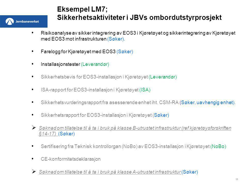 Eksempel LM7; Sikkerhetsaktiviteter i JBVs ombordutstyrprosjekt Risikoanalyse av sikker integrering av EOS3 i Kjøretøyet og sikkerintegrering av Kjøre