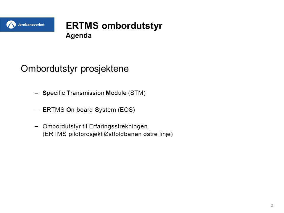 ERTMS ombordutstyr Agenda Ombordutstyr prosjektene –Specific Transmission Module (STM) –ERTMS On-board System (EOS) –Ombordutstyr til Erfaringsstrekni