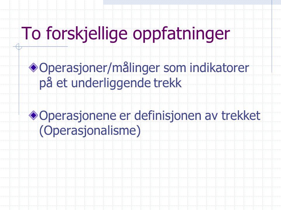 Operasjonalisering (Måleproblemet) Begreper må oversettes til sansbare forhold Eksempler: Livskvalitet, Alkoholisme Angst Aggresjon Intelligens
