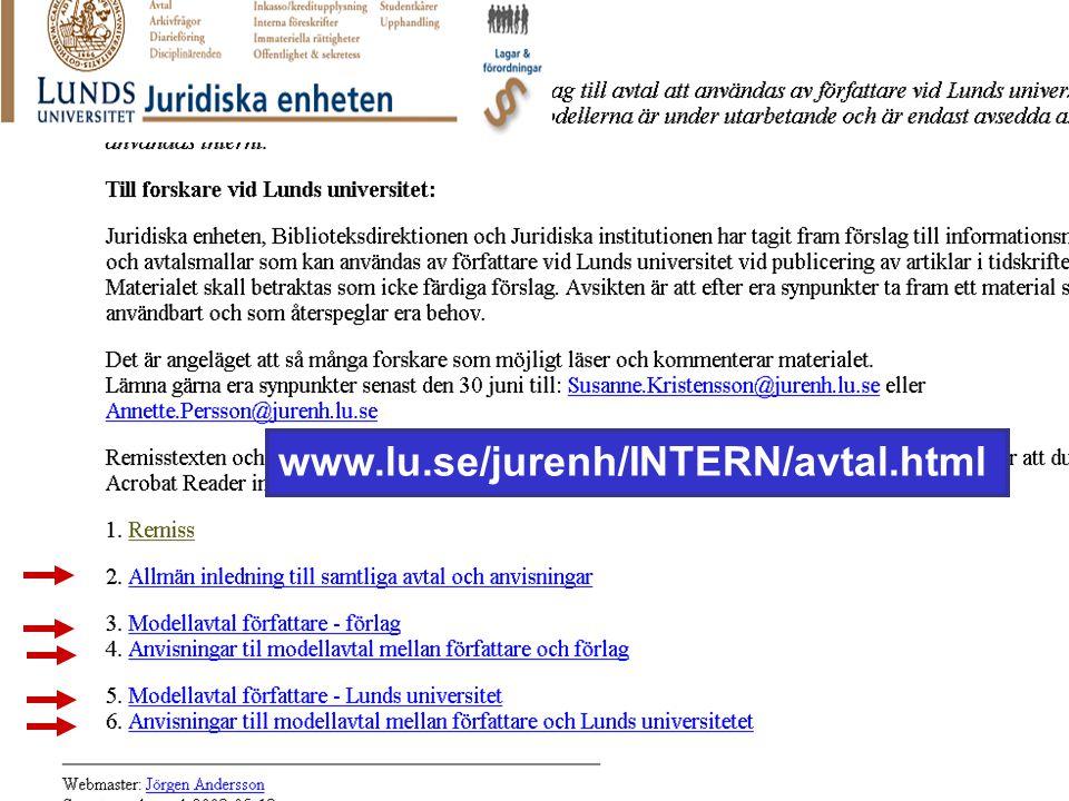 August 2005Lars Björnshauge www.lu.se/jurenh/INTERN/avtal.html