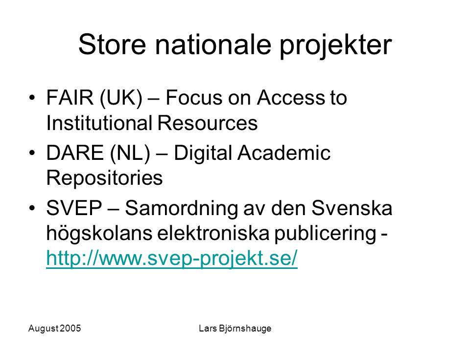August 2005Lars Björnshauge Store nationale projekter FAIR (UK) – Focus on Access to Institutional Resources DARE (NL) – Digital Academic Repositories