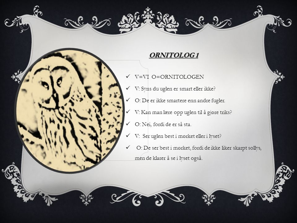 ORNITOLOG 1 V=VI O=ORNITOLOGEN V: Syns du uglen er smart eller ikke? O: De er ikke smartere enn andre fugler. V: Kan man lære opp uglen til å gjøre tr