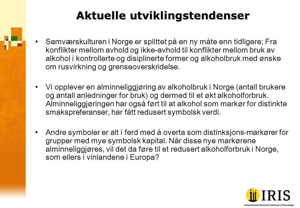 Aktuelle utviklingstendenser Samværskulturen i Norge er splittet på en ny måte enn tidligere; Fra konflikter mellom avhold og ikke-avhold til konflikt