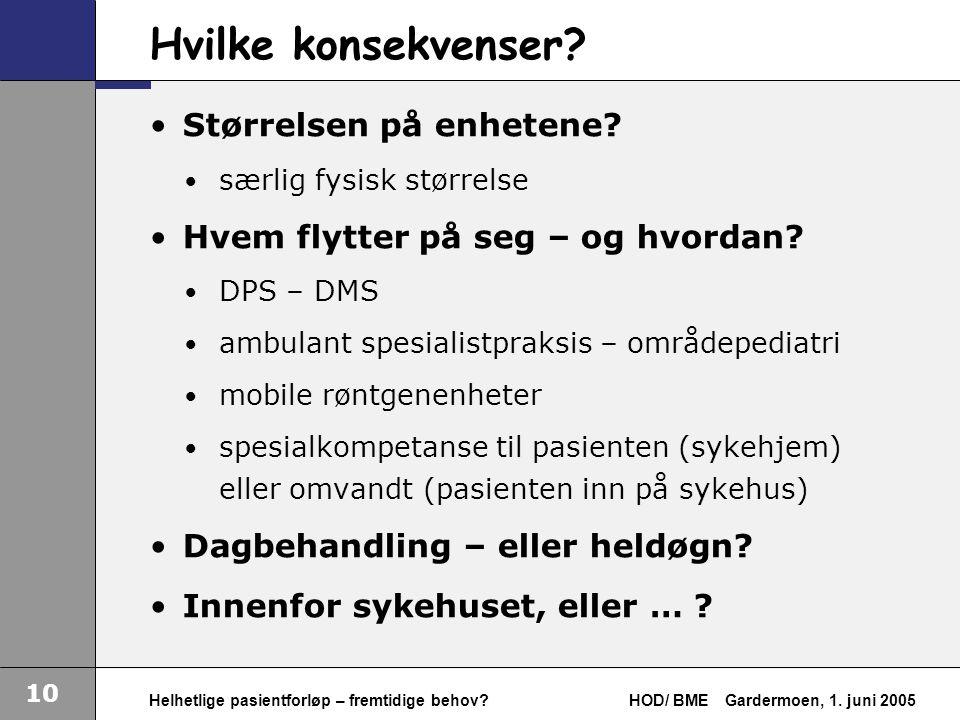 10 Helhetlige pasientforløp – fremtidige behov. HOD/ BMEGardermoen, 1.