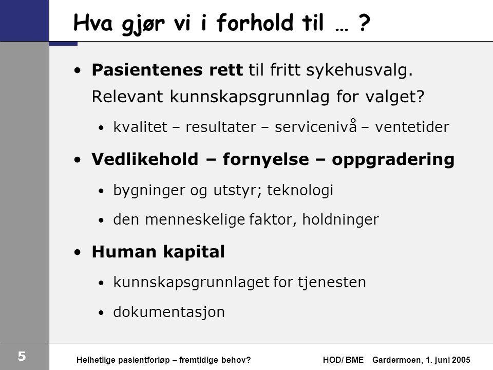 5 Helhetlige pasientforløp – fremtidige behov. HOD/ BMEGardermoen, 1.