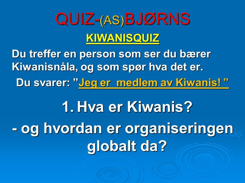 QUIZ- (AS) BJØRNS KIWANISQUIZ Du treffer en person som ser du bærer Kiwanisnåla, og som spør hva det er.