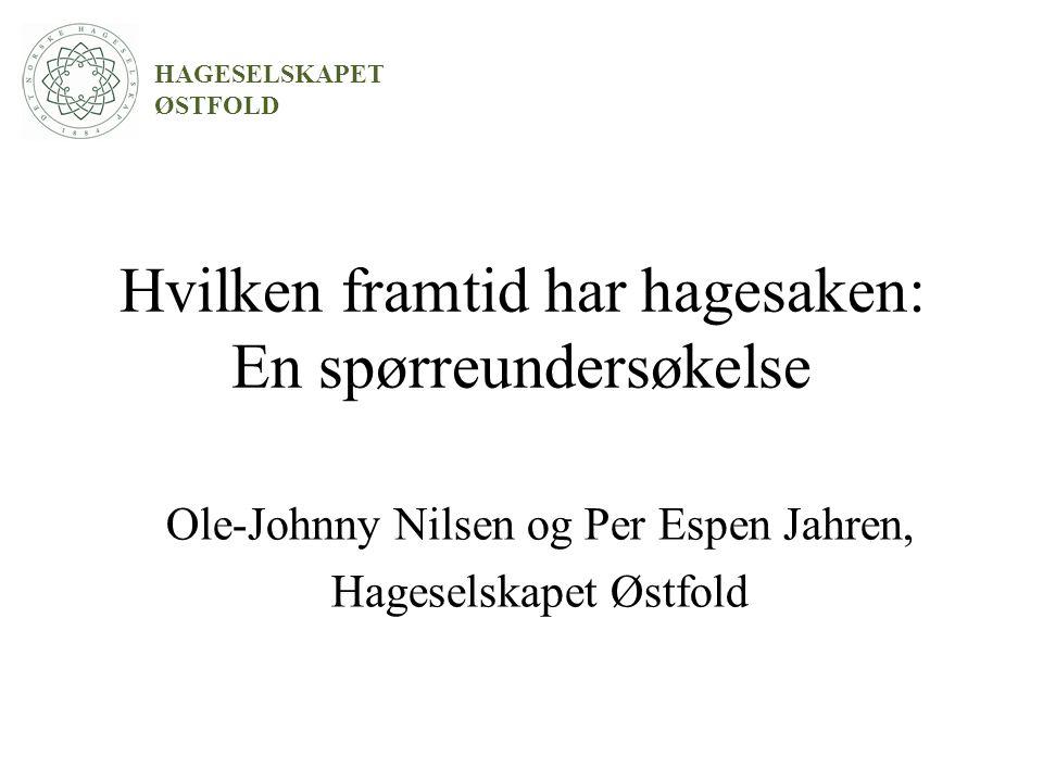 Formål Kartlegge hagelagsmedlemmenes holdning til: -Forventninger til og utbytte av sitt medlemskap i Hageselskapet.