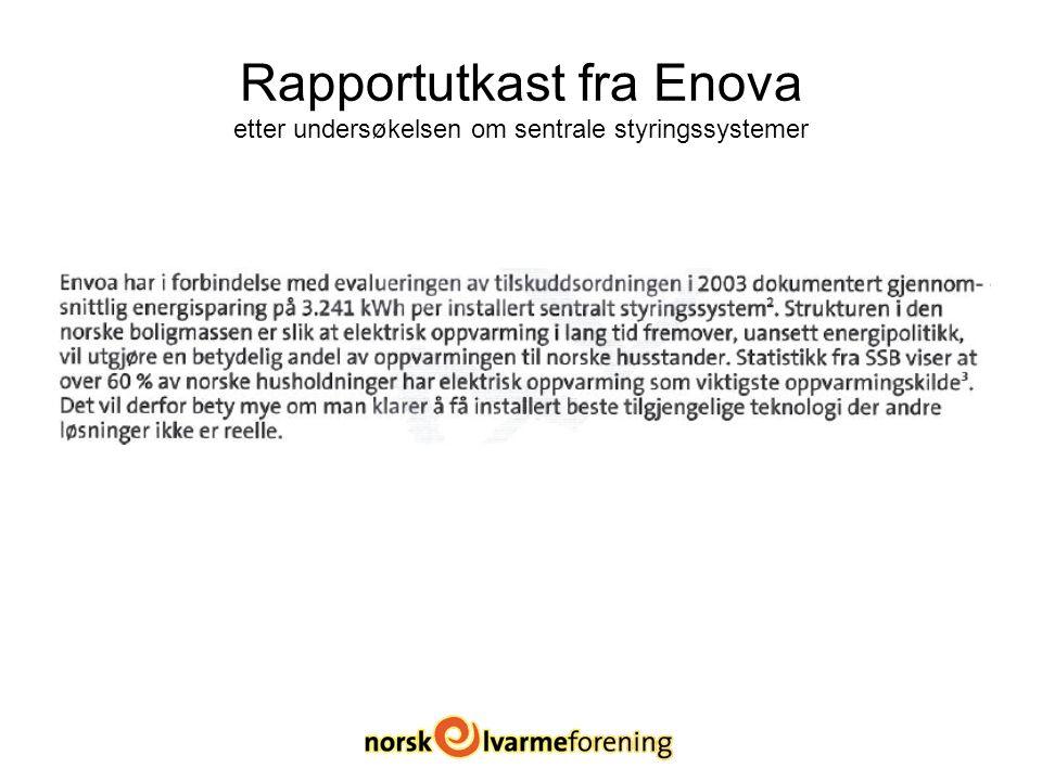Rapportutkast fra Enova etter undersøkelsen om sentrale styringssystemer