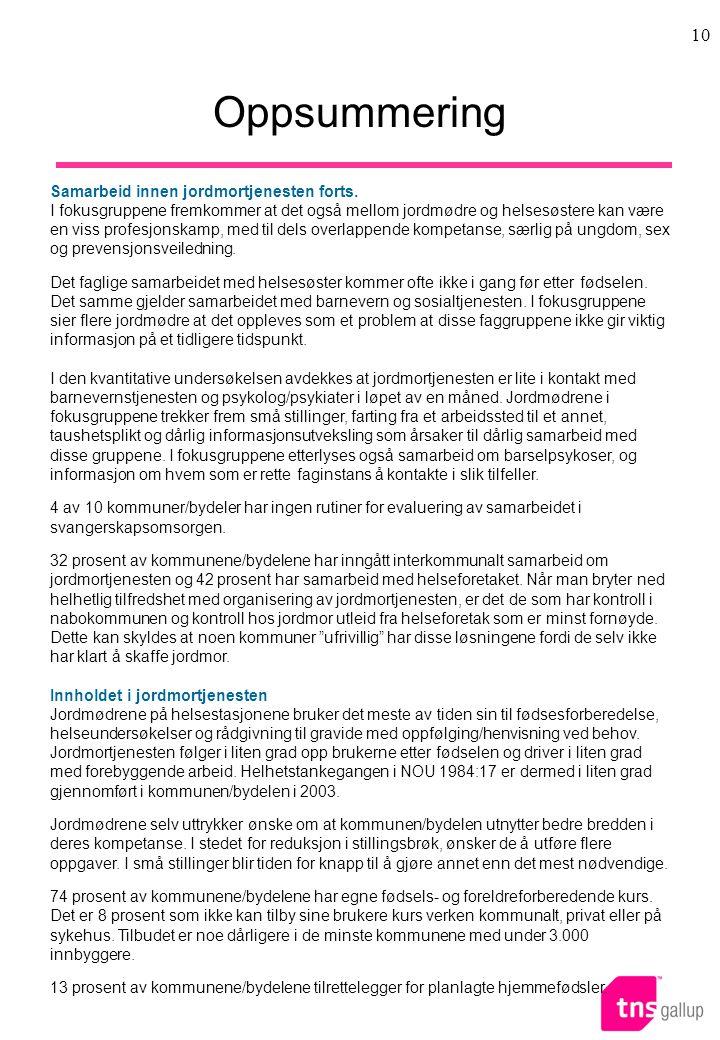 10 Oppsummering Samarbeid innen jordmortjenesten forts.