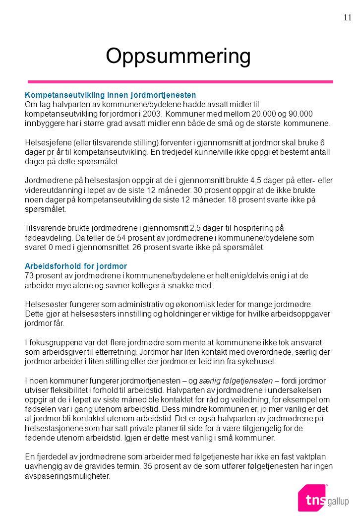 11 Oppsummering Kompetanseutvikling innen jordmortjenesten Om lag halvparten av kommunene/bydelene hadde avsatt midler til kompetanseutvikling for jordmor i 2003.