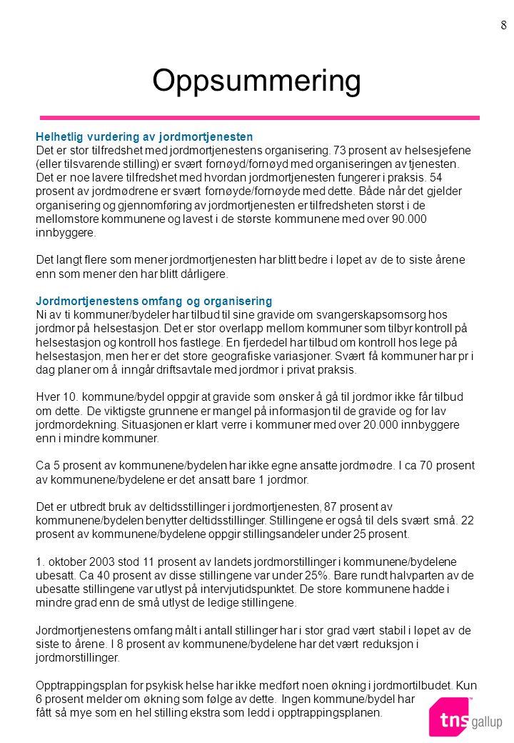 8 Oppsummering Helhetlig vurdering av jordmortjenesten Det er stor tilfredshet med jordmortjenestens organisering.
