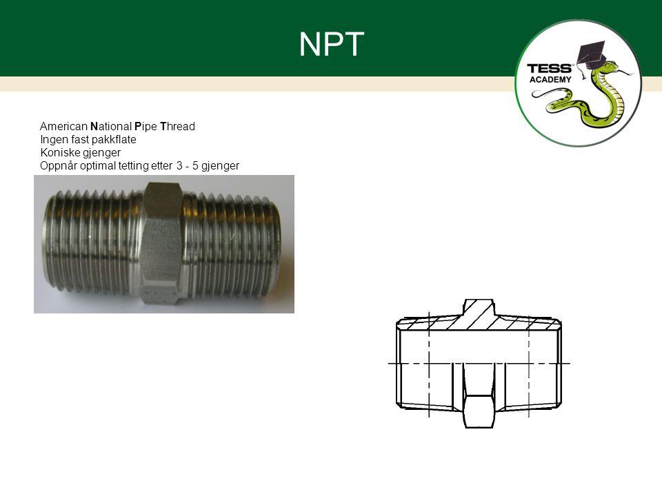 NPT American National Pipe Thread Ingen fast pakkflate Koniske gjenger Oppnår optimal tetting etter 3 - 5 gjenger
