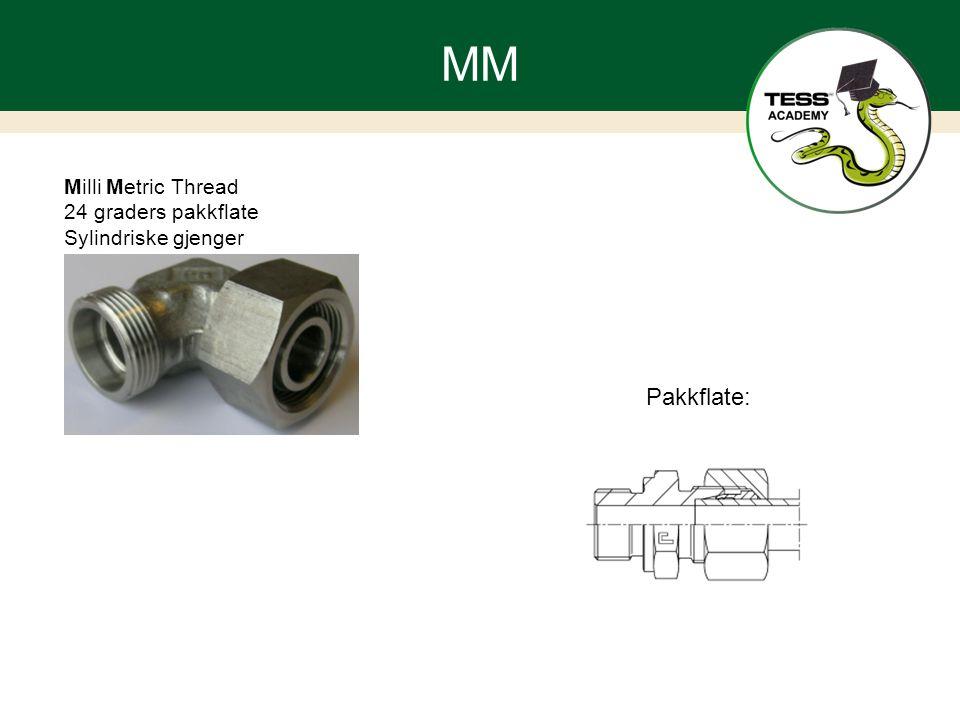 MM Milli Metric Thread 24 graders pakkflate Sylindriske gjenger Pakkflate: