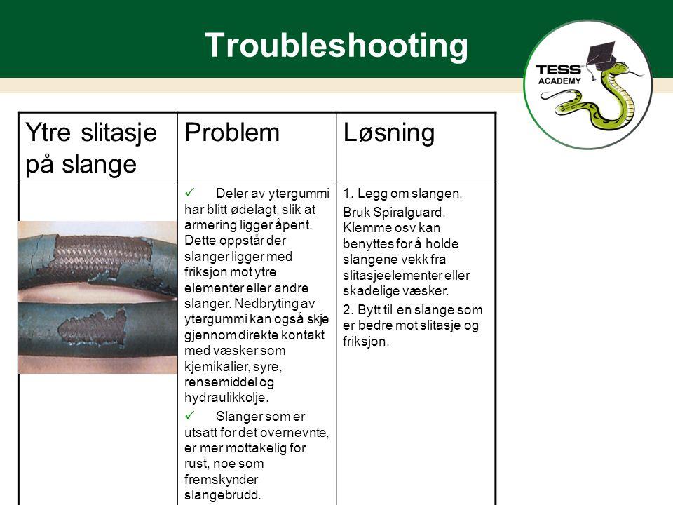 Troubleshooting Ytre slitasje på slange ProblemLøsning Deler av ytergummi har blitt ødelagt, slik at armering ligger åpent.