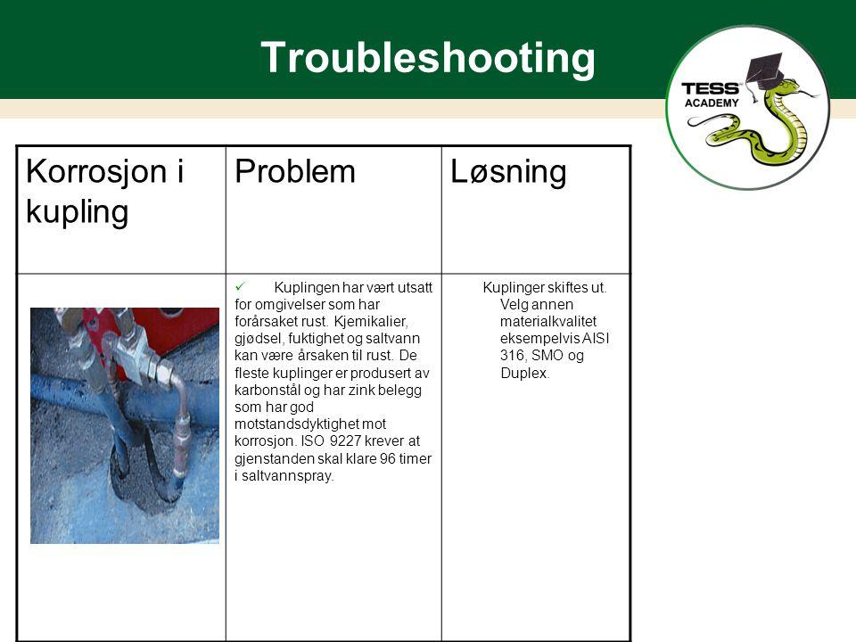 Troubleshooting Korrosjon i kupling ProblemLøsning Kuplingen har vært utsatt for omgivelser som har forårsaket rust.