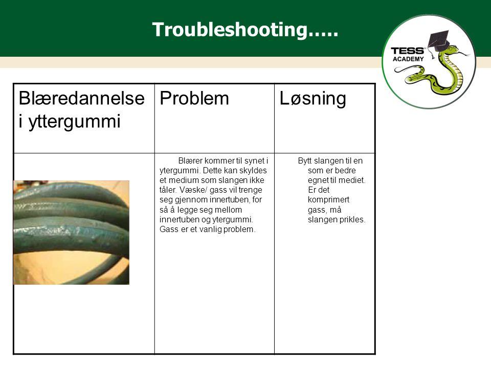 Troubleshooting…..Blæredannelse i yttergummi ProblemLøsning Blærer kommer til synet i ytergummi.