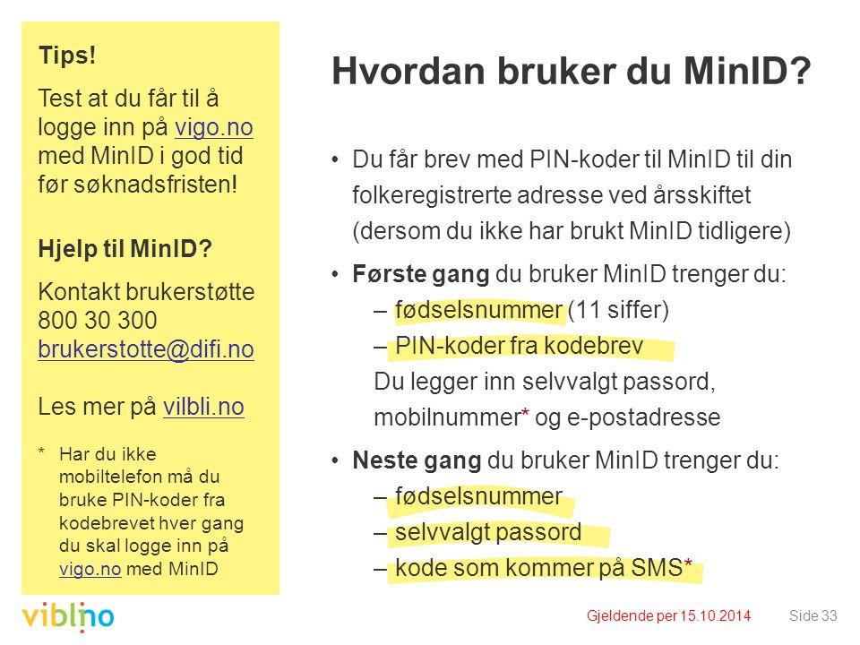 Gjeldende per 15.10.2014Side 33 Hvordan bruker du MinID? Du får brev med PIN-koder til MinID til din folkeregistrerte adresse ved årsskiftet (dersom d