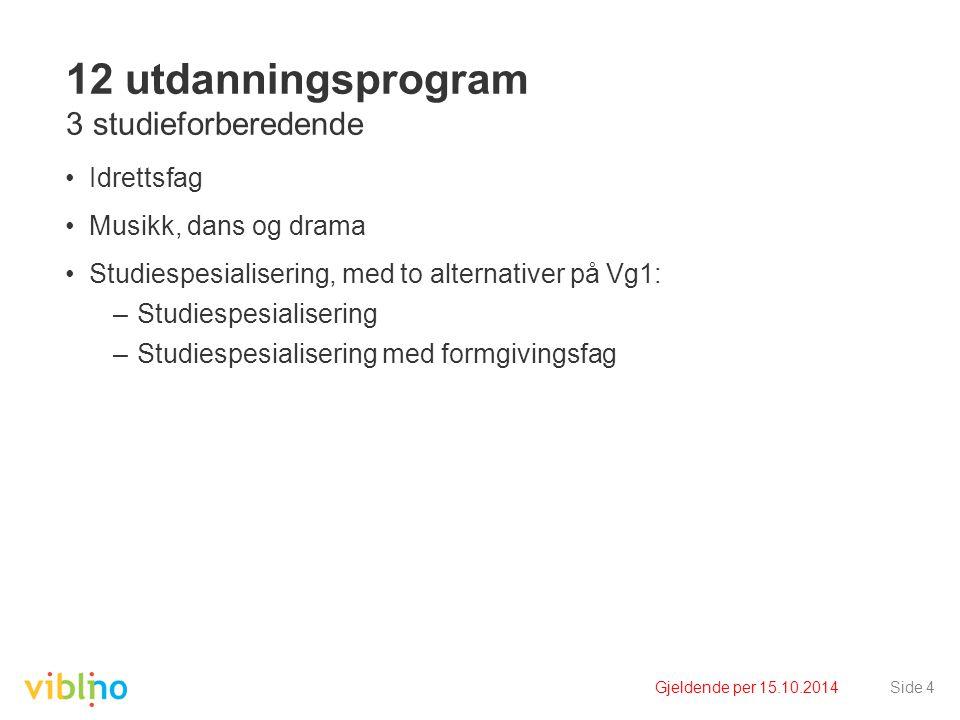 Gjeldende per 15.10.2014Side 15 Fag- og timefordeling Utdanningsprogram for studiespesialisering Vg1 studiespesialisering med formgivingsfag Vg2 og Vg3 realfag eller språk, samfunnsfag og økonomi Timetallene er oppgitt i 60-minutters enheter.