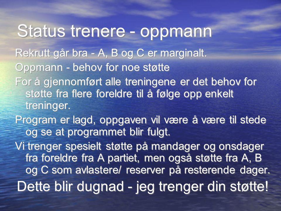 Status trenere - oppmann Rekrutt går bra - A, B og C er marginalt.