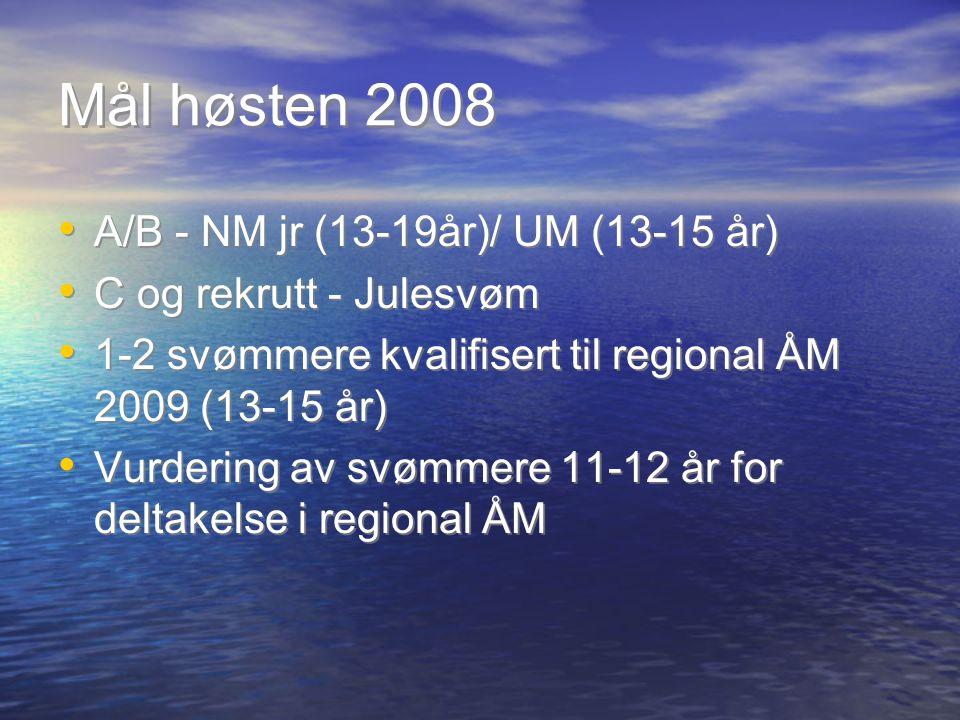 Mål høsten 2008 A/B - NM jr (13-19år)/ UM (13-15 år) C og rekrutt - Julesvøm 1-2 svømmere kvalifisert til regional ÅM 2009 (13-15 år) Vurdering av svømmere 11-12 år for deltakelse i regional ÅM A/B - NM jr (13-19år)/ UM (13-15 år) C og rekrutt - Julesvøm 1-2 svømmere kvalifisert til regional ÅM 2009 (13-15 år) Vurdering av svømmere 11-12 år for deltakelse i regional ÅM