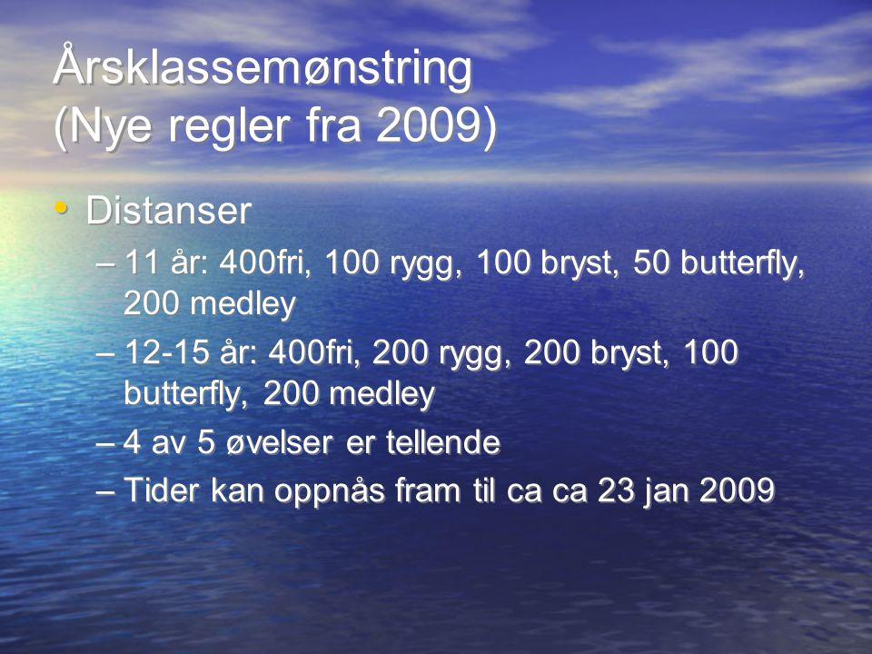 Årsklassemønstring (Nye regler fra 2009) Distanser –11 år: 400fri, 100 rygg, 100 bryst, 50 butterfly, 200 medley –12-15 år: 400fri, 200 rygg, 200 brys