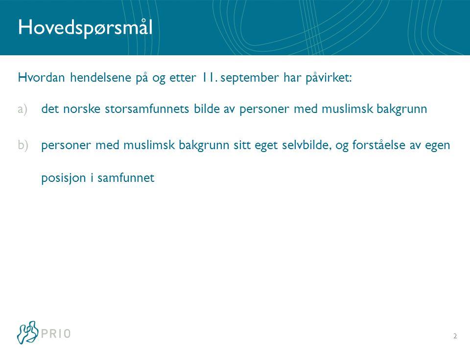 Hovedspørsmål Hvordan hendelsene på og etter 11. september har påvirket: a)det norske storsamfunnets bilde av personer med muslimsk bakgrunn b)persone