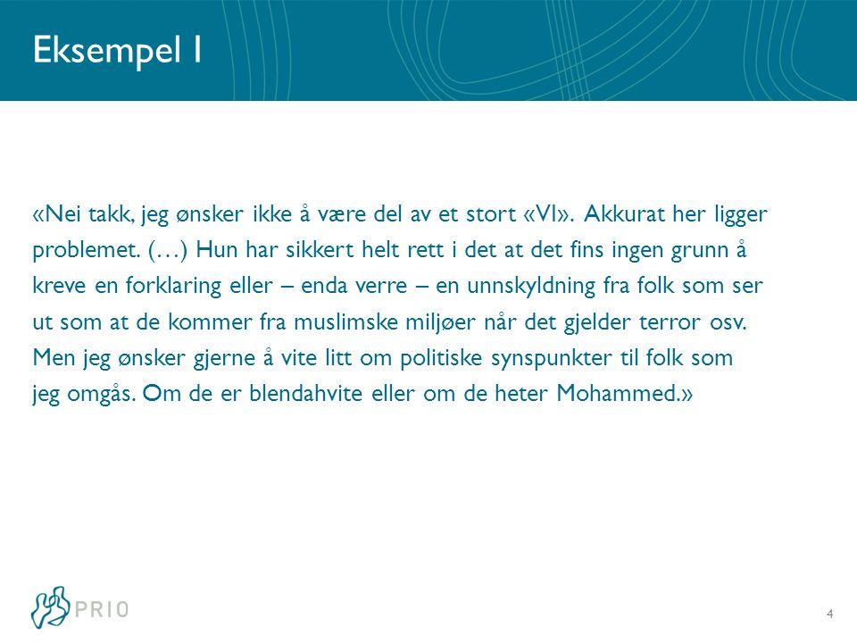 Eksempel II «Vi har stort sett ikke invitert muslimene til vårt land, likevel har vi tatt godt imot dem og åpnet opp for å kunne gi av det vi har.