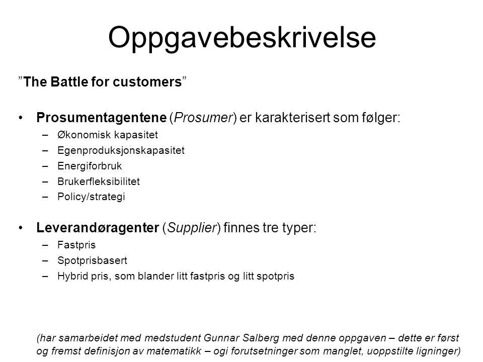 Oppgavebeskrivelse The Battle for customers Prosumentagentene (Prosumer) er karakterisert som følger: –Økonomisk kapasitet –Egenproduksjonskapasitet –Energiforbruk –Brukerfleksibilitet –Policy/strategi Leverandøragenter (Supplier) finnes tre typer: –Fastpris –Spotprisbasert –Hybrid pris, som blander litt fastpris og litt spotpris (har samarbeidet med medstudent Gunnar Salberg med denne oppgaven – dette er først og fremst definisjon av matematikk – ogi forutsetninger som manglet, uoppstilte ligninger)