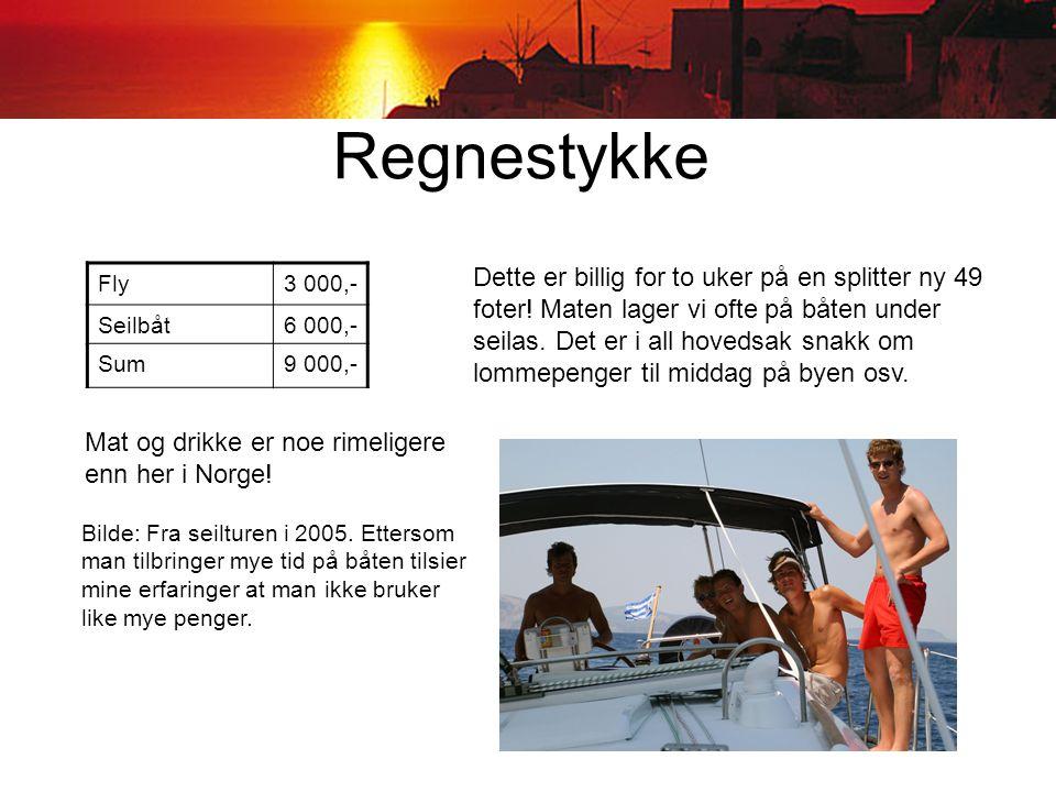 Regnestykke Fly3 000,- Seilbåt6 000,- Sum9 000,- Dette er billig for to uker på en splitter ny 49 foter.