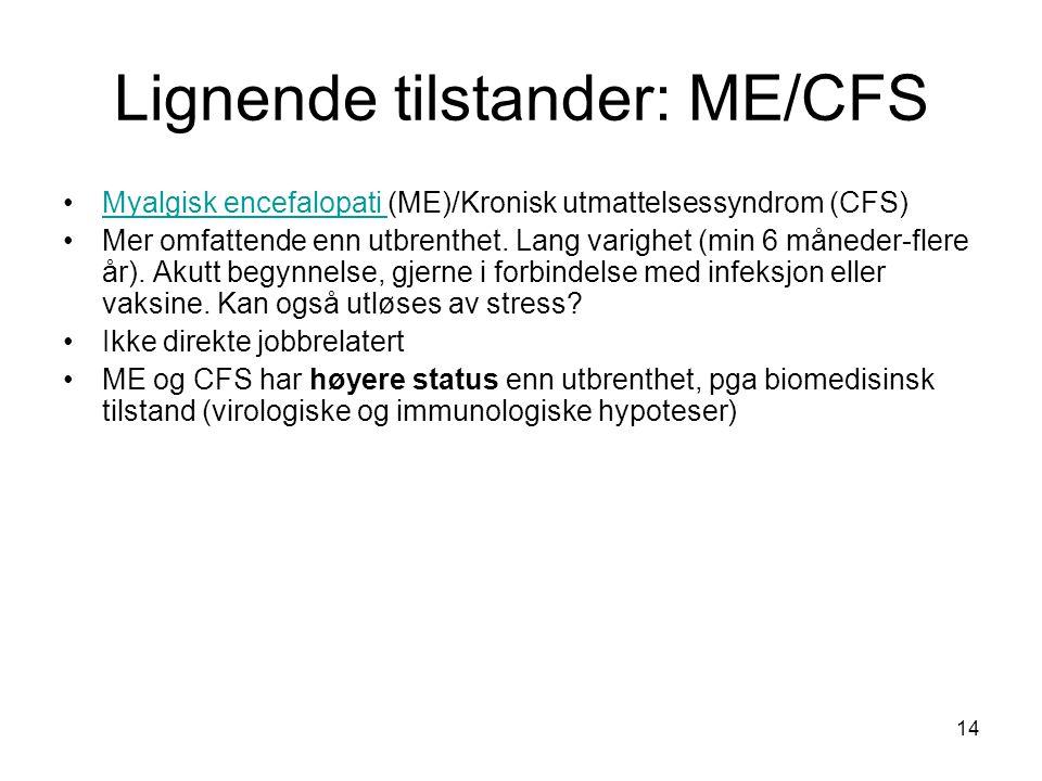 14 Lignende tilstander: ME/CFS Myalgisk encefalopati (ME)/Kronisk utmattelsessyndrom (CFS)Myalgisk encefalopati Mer omfattende enn utbrenthet. Lang va