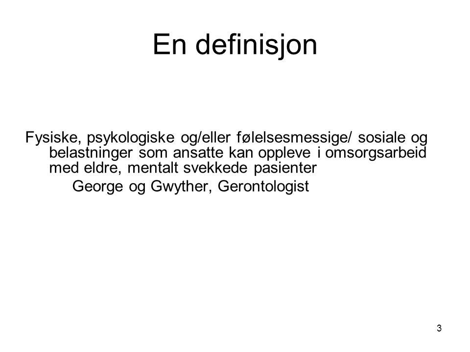 En definisjon Fysiske, psykologiske og/eller følelsesmessige/ sosiale og belastninger som ansatte kan oppleve i omsorgsarbeid med eldre, mentalt svekk