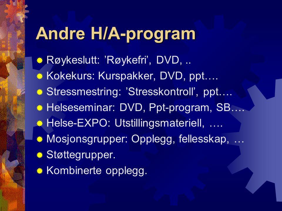 Andre H/A-program  Røykeslutt: 'Røykefri', DVD,..  Kokekurs: Kurspakker, DVD, ppt….  Stressmestring: 'Stresskontroll', ppt….  Helseseminar: DVD, P