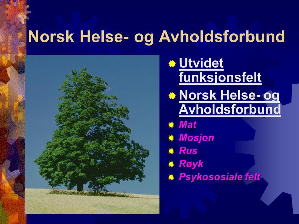 Norsk Helse- og Avholdsforbund  Utvidet funksjonsfelt  Norsk Helse- og Avholdsforbund  Mat  Mosjon  Rus  Røyk  Psykososiale felt