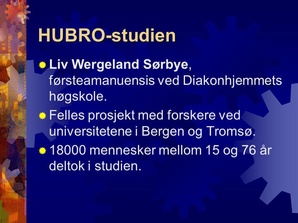 HUBRO-studien  Liv Wergeland Sørbye, førsteamanuensis ved Diakonhjemmets høgskole.  Felles prosjekt med forskere ved universitetene i Bergen og Trom