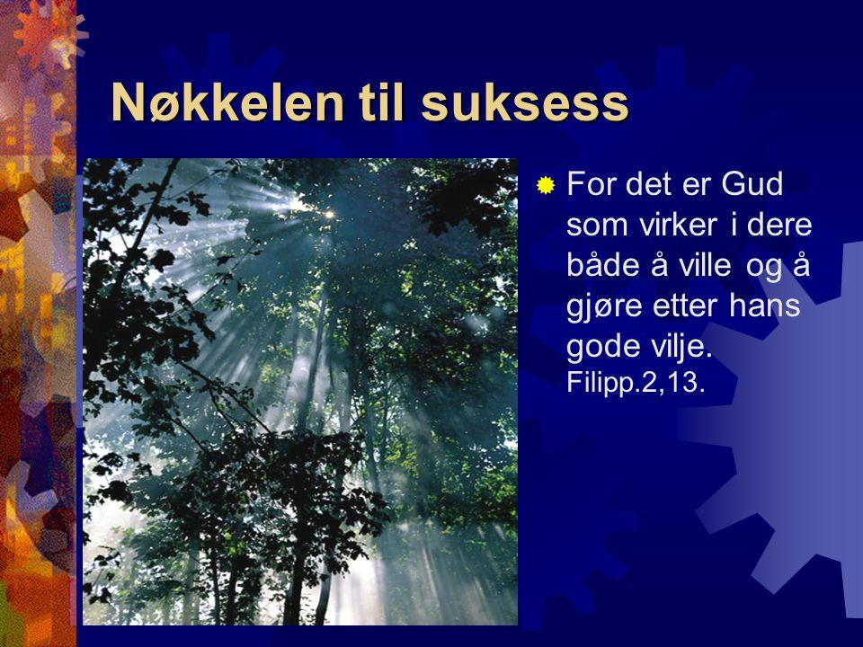 Nøkkelen til suksess  For det er Gud som virker i dere både å ville og å gjøre etter hans gode vilje. Filipp.2,13.