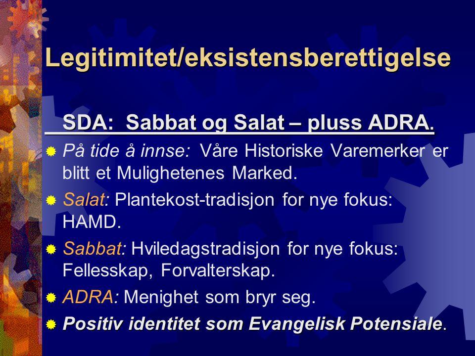 Legitimitet/eksistensberettigelse SDA: Sabbat og Salat – pluss ADRA.  På tide å innse: Våre Historiske Varemerker er blitt et Mulighetenes Marked. 