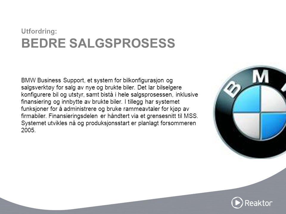 BMW Business Support, et system for bilkonfigurasjon og salgsverktøy for salg av nye og brukte biler.