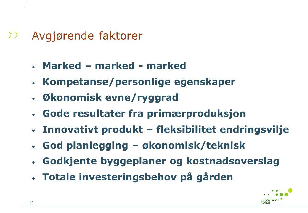 12 Avgjørende faktorer Marked – marked - marked Kompetanse/personlige egenskaper Økonomisk evne/ryggrad Gode resultater fra primærproduksjon Innovativ