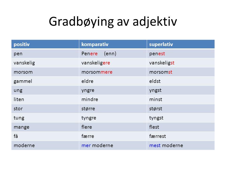 Gradbøying av adjektiv positivkomparativsuperlativ penPenere (enn)penest vanskeligvanskeligerevanskeligst morsommorsommeremorsomst gammeleldreeldst un