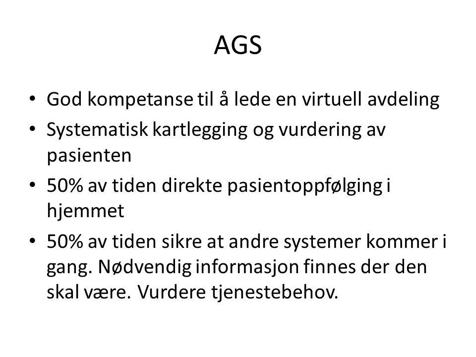 AGS God kompetanse til å lede en virtuell avdeling Systematisk kartlegging og vurdering av pasienten 50% av tiden direkte pasientoppfølging i hjemmet